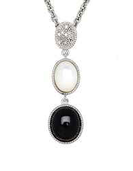 Lord And Taylor Onyx Opal Diamond Sterling Silver Pendant Necklace