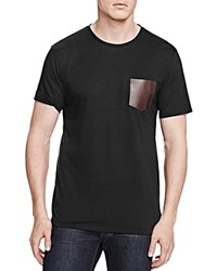 The Kooples Leather Pocket Tee Black