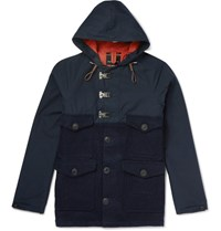 Nigel Cabourn Cameraman Converse Canvas And Waxed Harris Tweed Hooded Jacket Navy