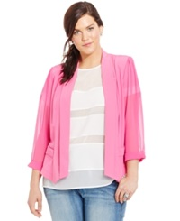 City Chic Plus Size Chiffon Sleeve Blazer Super Pink