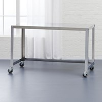 Cb2 Go Cart Stainless Rolling Desk