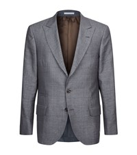 Brunello Cucinelli Mini Houndstooth Blazer Jacket Male Grey