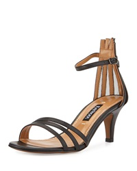 Kay Unger Adella Leather Multi Strap Sandal Black