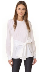 Dsquared Pleated Poplin Top White
