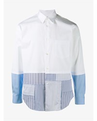 Comme Des Garcons Stripe Panel Cotton Shirt White Multi Coloured Blue Black