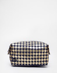 Mi Pac Mi Pac Houndstooth Navy Gold Make Up Bag Clear