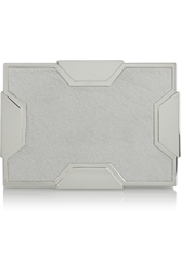 Lee Savage Space Small Silver Tone And Calf Hair Box Clutch