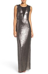 Laundry By Shelli Segal Women's Mesh Neck Sequin Gown