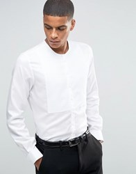 Hart Hollywood By Nick Slim Smart Grandad Collar Shirt With Bib Front White