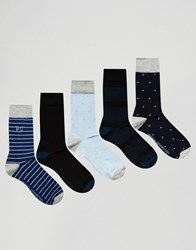 French Connection 5 Pack Socks Blue