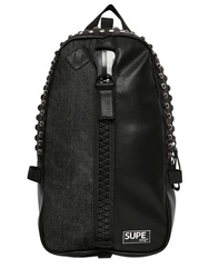 Supe Design Denim And Faux Leather Backpack Black