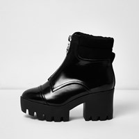 River Island Womens Black Patent Wide Fit Chunky Platform Boots