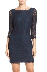 Adrianna Papell Women's Lace Overlay Sheath Dress Navy Hunter