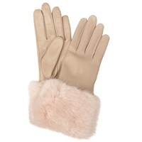 Ted Baker Emree Faux Fur Cuff Leather Gloves Camel