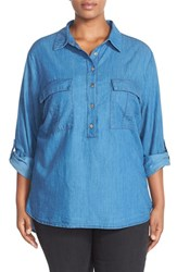 Plus Size Women's Cj By Cookie Johnson Roll Sleeve Chambray Shirt