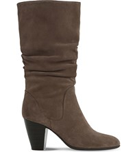 Dune Rossy Slouchy Suede Boots Taupe Suede