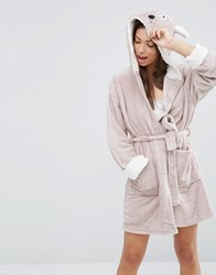 Loungeable Animal Fleece Robe Taupe Beige