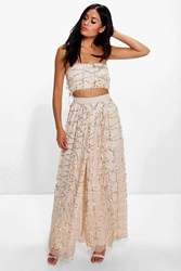 Boohoo Megan Sequin Bandeau Top And Maxi Skirt Co Ord Stone