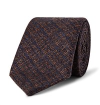 Richard James 8Cm Checked Wool And Cashmere Blend Tie Brown