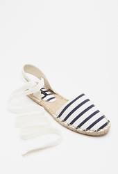 Forever 21 Striped Espadrille Flats Cream Navy