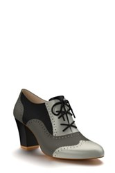 Shoes Of Prey Colorblock Genuine Calf Hair Oxford Bootie Women Gray