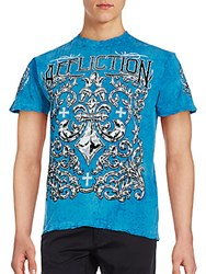 Affliction Cotton Screen Printed Tee Sky Blue