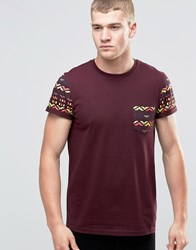 Asos T Shirt With Colour Pop Aztec Sleeves And Pocket Oxblood Red
