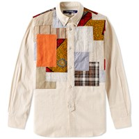 Junya Watanabe Man Button Down Patchwork Shirt Neutrals