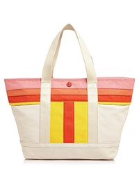 Tory Burch Small Striped T Canvas Tote Natural