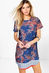 Boohoo Border Print Cap Sleeve Shift Dress Blue