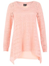 Izabel London Oversized Crochet Tunic Top With Handkerchief Hem Pink