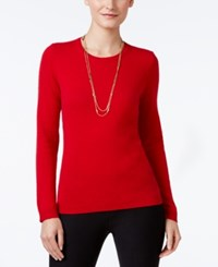 Charter Club Cashmere Crew Neck Sweater Only At Macy's New Red Amore