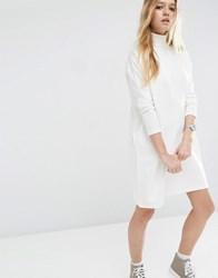 Asos High Neck Slouch Dress With Rib Sleeve Detail Winter White