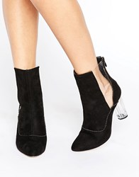 Public Desire Nya Cut Out Clear Heeled Ankle Boots Black Mf