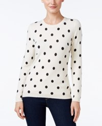 Charter Club Cashmere Polka Dot Sweater Only At Macy's Ivory Combo