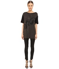 Versace Black And Gold Embellished Jersey Tunic Black Women's Blouse