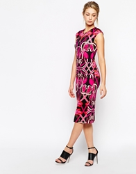 Ted Baker Bodycon Pencil Dress In Linear Jewel Print Multi