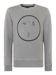 Paul Smith Graphic Crew Neck Jumper Grey Marl