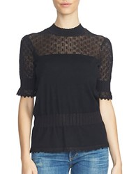 1.State Short Sleeve Pointelle Yoke Peplum Sweater Rich Black