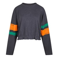 16 Seven Striped Cropped Sweat Top Grey