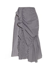 J.W.Anderson Gingham Ruffled Cotton Skirt Black White