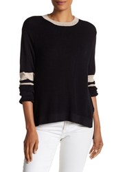 Cullen Multi Stitch Hi Lo Crew Neck Sweater Black