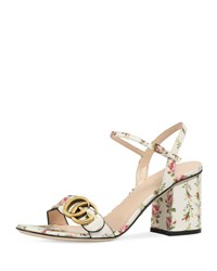 Gucci Marmont Rose 75Mm Sandal Floral White Floral White