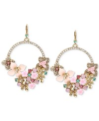 Betsey Johnson Gold Tone Floral Wreath And Pave Gypsy Hoop Earrings Multi