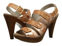 Helle Comfort Nayana Toast Snake Metallic High Heels Brown