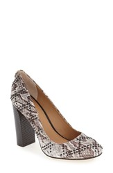 Calvin Klein Women's 'Junie' Studded Round Toe Pump Silver Snake Print Leather