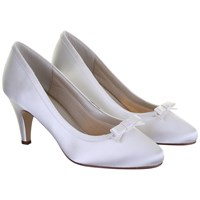 Rainbow Club Daisy Satin Bow Detail Court Shoes Ivory