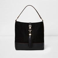 River Island Womens Black Tassel Strap Slouch Bag