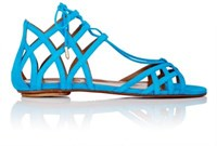 Aquazzura Women's Ginger Lace Up Flat Sandals Turquoise