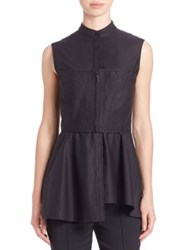 Jason Wu Sleeveless Corset Peplum Top Black